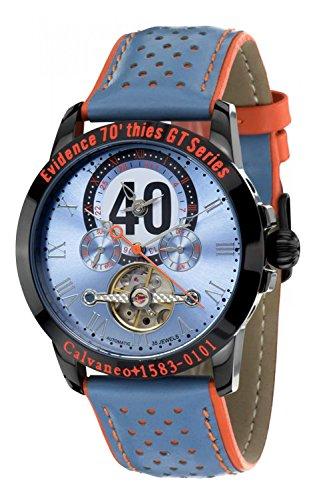 Calvaneo 1583 Herren-Armbanduhr Evidence 70´thies GT Series Analog Automatik Leder blau 107914