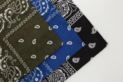 Lot de 3 bandana en coton motif marguerite kaki bleu roi et noir (With Love From FlissyTM©)