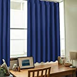 NICETOWN 遮光カーテン 2枚セット UVカット断熱 防寒 防音 省エネ 高級感のある生地 リビングルーム 幅100cm丈110cm ローヤルブルー