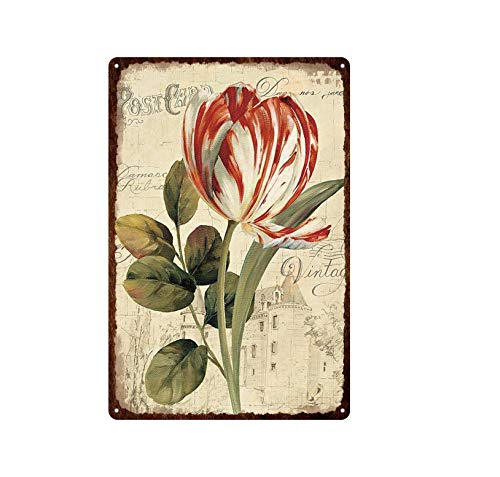 ivAZW Tin Sign Retro Garden Decoration Flowers Rose Lavender Metal Colorful Plates Wall Stickers House Room Cafe Decor 20x30cm 16