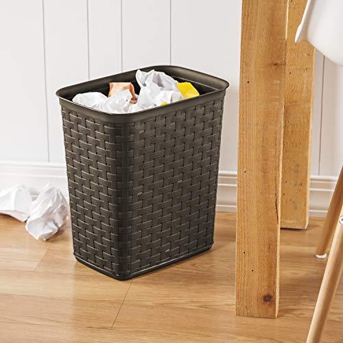 Sterilite 10346P06 3.4 Gallon/13 Liter Weave Wastebasket, Espresso, 6-Pack