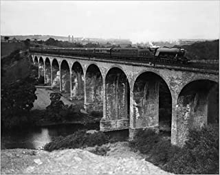 Media Storehouse 10x8 Print of The Flying Scotsman Express Train Crossing Croxdale Viaduct September 1928 (11633828)