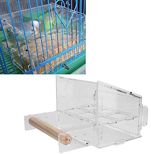 HEEPDD Vogelkooi Vogelvoer, 6 Grid Clear Acryl Vogelvoeder, No-Mess Voedselcontainer met Haak Vogelkooi Accessoires voor Pet Papegaai Vogels