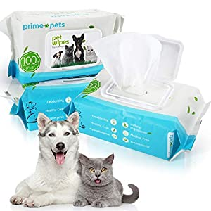 PrimePets 300PCS Dog Cat Wipes, 6×8 Inch, Natural Pet Hypoallergenic Grooming Wipes for Face Eyes Ears Paws Cleaning
