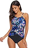 Cali Chic Women's Swimsuit Celebrity Floral Print Tulip Mesh Over Front One-Piece Swimsuit Multicolor Large