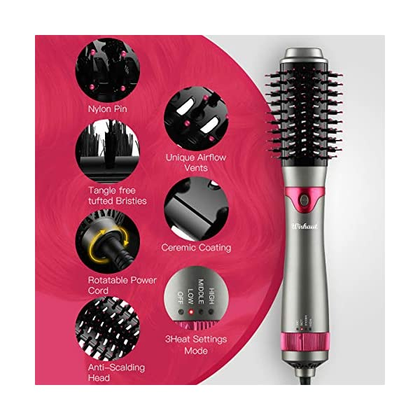 Beauty Shopping [2020 Upgrade] Wirhaut Hot Air Brush, Hair Dryer with Hair Volumizer Curler Straightener
