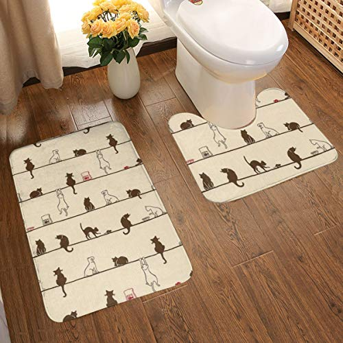 NiYoung Bathroom Rugs 2 Piece Anti-Skid Pads U-Shaped Contour Pad, Rug Bath Mat for Tub Shower Bathroom, Cute Cat Eat On The Line
