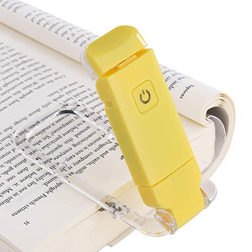 DEWENWILS Rechargeable Book Reading Light for Kids, Warm White, Brightness Adjustable for Eye Care, LED Clip on Book Lights for Reading in Bed, Portable Bookmark Light, Yellow