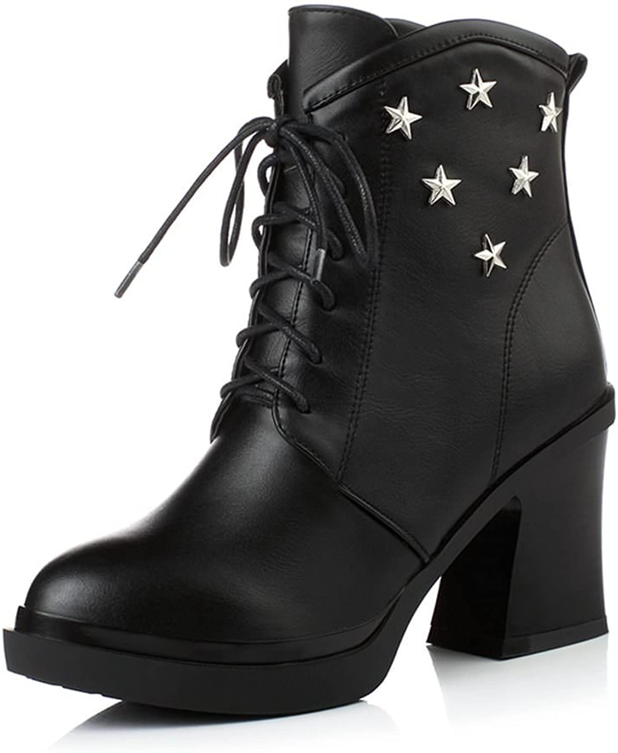DecoStain Women's Five Star Ornamented Lace Up Ankle Bootie