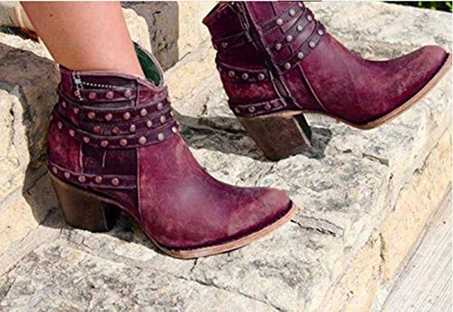 QSLS Botas de tobillo para mujer con remaches, otoño e invierno, tacón grueso, color granate, 39