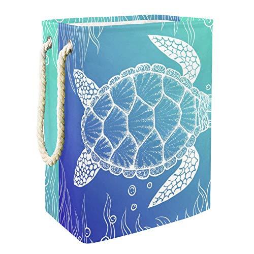 Vockgeng Turtle Seaweed Bubble Wäschekorb Große Faltbare wasserdichte Wäschekorb Spielzeug Aufbewahrungstasche mit Tragegriffen 49x30x40.5 cm