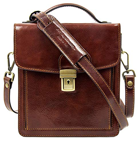 Leather Small Briefcase for Men Brown Crossbody Bag - Time Resistance