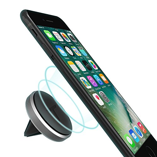 Trianium Aluminum Magnetic Air Vent Car Phone Mount Compatible with iPhone Xs Max XR iPhone X 8 7 6s 6 Plus SE Galaxy S9 S8 S7 Edge Note 9LG G7 thinQG6 G5PixelNexus 6P 6XPixel 2 XLSpace Grey