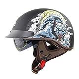 Medio casco de seguridad retro motocicleta casco de coche eléctrico hombres y mujeres montando casco de verano Harley scoop casco-Wild wolf_L