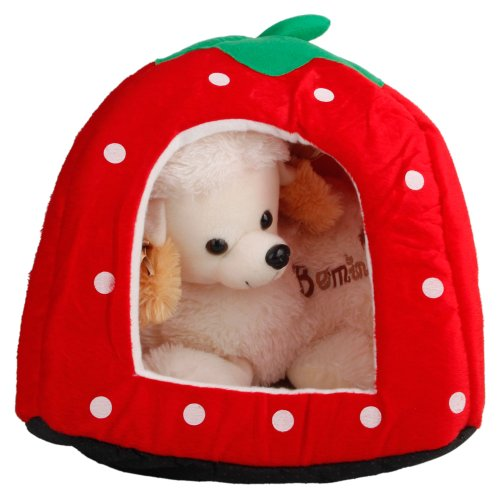 QISHUI Soft Cotton Cute Strawberry Style Multi-purpose Pets Dog Cat House Nest Yurt Size M Bright Red