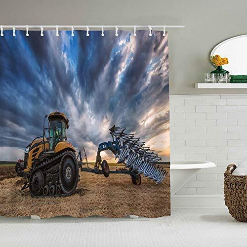 SUHOM Cortina de Ducha,Agricultura Agricultor Tractor Arado