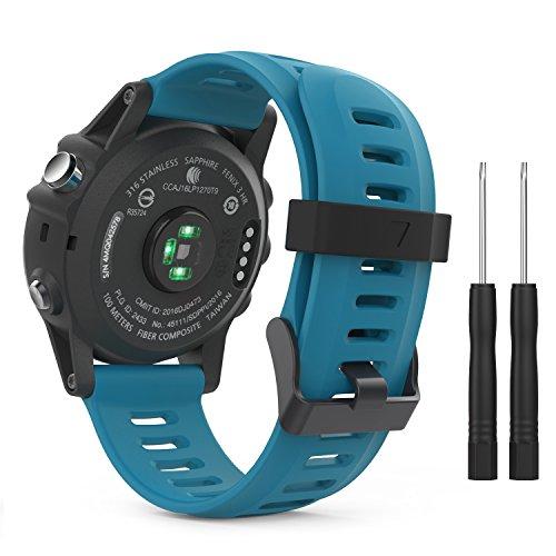 MoKo Pulsera Compatible con Garmin Fenix 3/3 HR/5X/5X Plus/D2 Delta PX/Tactix Bravo/Descent Mk1/Quatix 3, Correa de Silicona Respirable y Reemplazable, Banda de Reloj Deportivo con Cierre - Azul