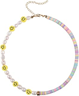 Smiley Face Necklace Handmade Freshwater Pearl Choker Cute Necklaces For Teen Girls Fashion Jewelry For Women