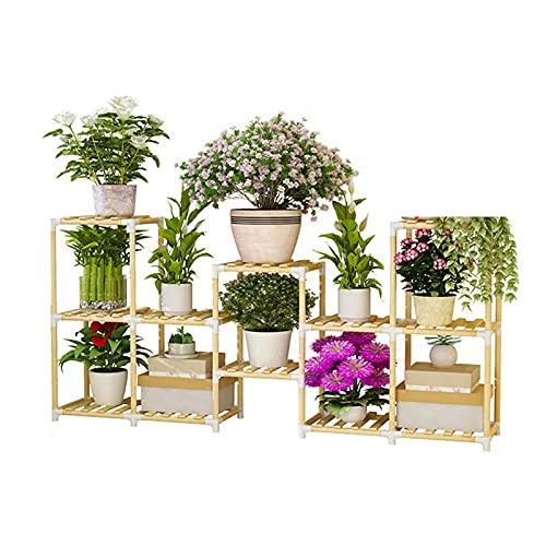 Soporte de Madera para Flores, Estante para Flores de Varios Niveles, Estante para Plantas, Estante de exhibición para Sala de Estar, Esquina, balcón, Oficina, césped, patio-A10