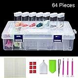 Scatola in plastica con 64 piccoli contenitori per diamanti sintetici per la pittura a mos...