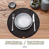 Miqio® Design Runde Tischsets aus Filz abwaschbar | Mit Marken Echtleder Label und Glasuntersetzer | 6 Platzsets 6 Untersetzer | Filzmatte Platzdeckchen abwschbari - 5