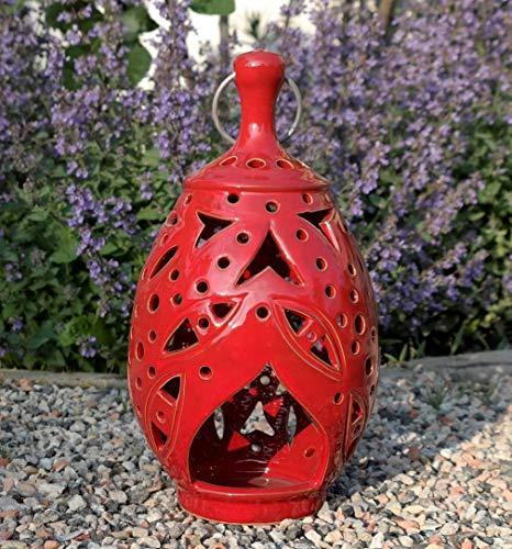 handgefertigtes Windlicht/Laterne aus echter Terracotta, zum Hängen und Stellen, Tolle Deko für den Garten/Terrasse Tisch (Rot)