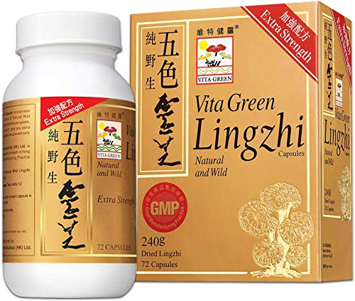 Reishi Lingzhi Mushroom Herbal Capsules, 100% Nature Pure Vegan Fungus Supplement Kidney Immune System Circulation Energy for Adults - 72 Capsules