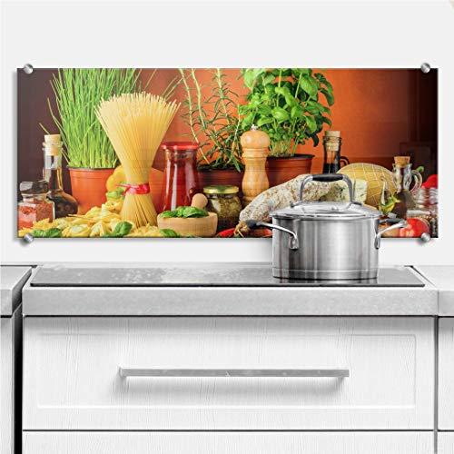 XXL Glasbild Wandspritzschutz Herd Spritzschutz Pfannen Küchen Rückenwand Kräuter mit Klemmbefestigung Edelstahl (100 x 40 cm, Italienisch Kochen)