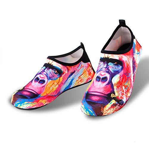 Vast Zapatos de buceo para hombre y mujer, gorilas impresas, cómodos y duraderos River Upstream zapatos, calcetines de playa suaves de secado rápido (tamaño: marcado 42-43 (adecuado 40-41))