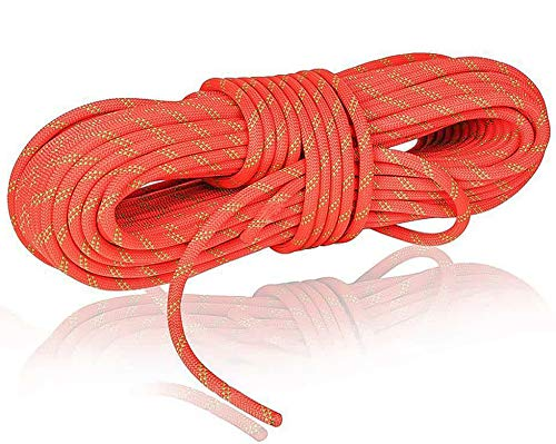 NewDoar Static Climbing Rope 8mm(5/16in) Double Braid Accessory Cord Rope for Prusik Hauling Dragginge(Orange 10mm,50FT)