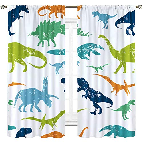 Cinbloo Cartoon Dinosaur Curtains Rod Pocket Colorful Dino Kids Cute Wildlife Silhouettes Boys Art Printed Living Room Bedroom Window Drapes Treatment Fabric 2 Panels 42 (W) x 63(L) Inch