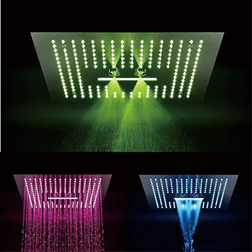 Sale!! XSGDMN Bathroom Rainfall Shower Head LED Stainless Steel Spray Top Spray Bathroom Showerheads...