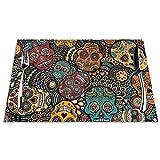 DearLord Manteles individuales de mesa, resistentes al calor, lavables y de PVC, 4 manteles individuales de vinilo tejido de calaveras mexicanas