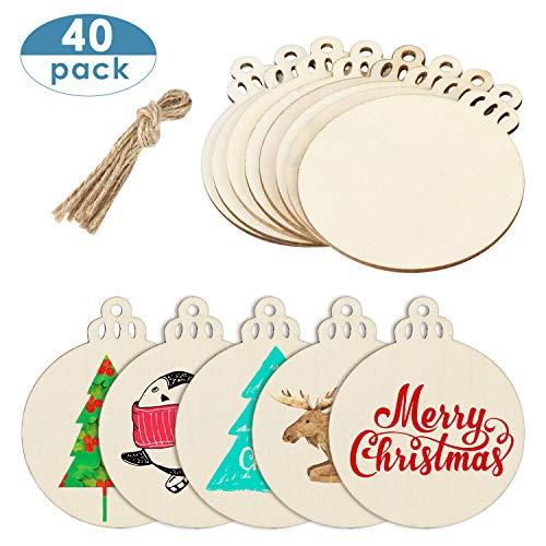 MELLIEX 40pcs Rodajas de Madera de Navidad, Círculos Rodajas de Madera Manualidades Bricolaje Artesanías Decoraciones para el Hogar del árbol de Navidad