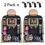 Auto Rückenlehnenschutz, 2 Stück Autositzschoner Rückenlehne für Kinder, Wasserdicht Auto Rücksitz Organizer mit 4 Haken, Große Taschen und iPad-/Tablet-Fach, Kick-Matten-Schutz für Autositz