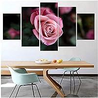 AdoDecorキャンバスウォールアートペインティングモジュラーピンクローズフラワーシングルフラワーポスター画像リビングルームの家の装飾30x4030x6030x80cmフレームなし