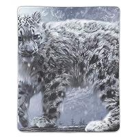 動物猫ネコ科のユキヒョウ木マウスパッド ゲーミング マウスパッド キーボードパッド パソコンデスクパッド 防水 18*22cm