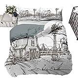 Juego de funda de edredón rústico con ilustración de granero rural y prado rural ultrasuave y hace que tu cama sea aún más acogedora, color blanco topo completo – 203 x 230 cm
