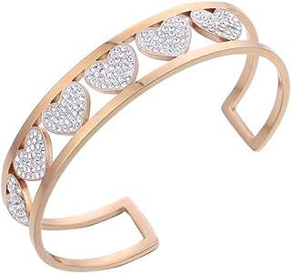 Ouran - Bracciale rigido da donna, con ciondolo a forma di C, in acciaio INOX placcato oro rosa e argento, con cristalli c...
