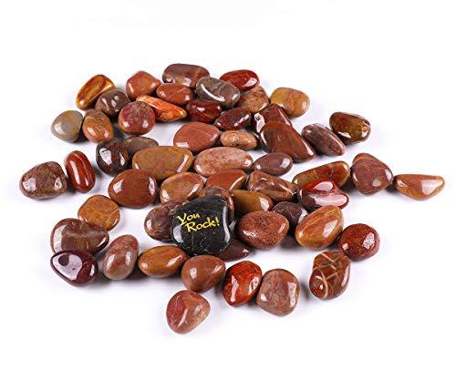 "ROCKIMPACT 5.5lb Polished Decorative Rocks for Planters, Vases, Terrariums, River Rock Pebbles for Landscaping, Aquarium Fish Tank Gravel, 3/4"" to 1-1/4"" (Red)"