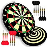 LinkVisions Paper Dartboard with Two Games Design, 12 Steeltip Darts, One-Piece Shaft and Flight with No Flights Falling Out, Easy Hang Up Construction