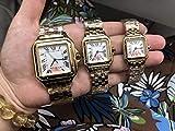 DMZZYGJR Luxury Hommes Femmes Japon Quartz Blanc 18k Or Jaune Saphir Carré Montre Lady Rome Cadran...