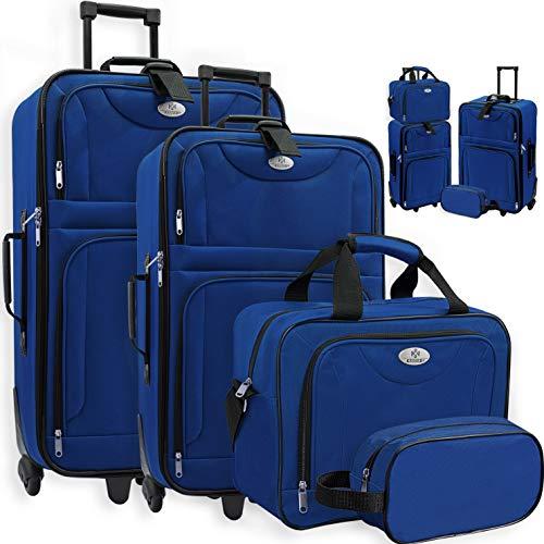 KESSER® 4tlg Trolley Kofferset | Reisekoffer Set mit Rollen | Komplettes Business 4er Set | S M L XL | Netzfach | Rollen | Teleskopgriff | Koffer Reisetaschen Stoffkoffer | Handgepäck | Blau