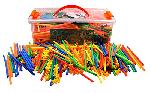 Playlearn LARGE 856 Piece Straws and Connectors Set | Building Construction Blocks and Bits Toy | Provide Hours of Fun and Entertainment with this Giant Kit of Special Straws and Connectors Age 3+