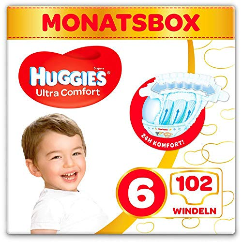 Huggies Windeln Ultra Comfort Baby Größe 6 Monatsbox, 3er Pack (3 x 34 Stück)