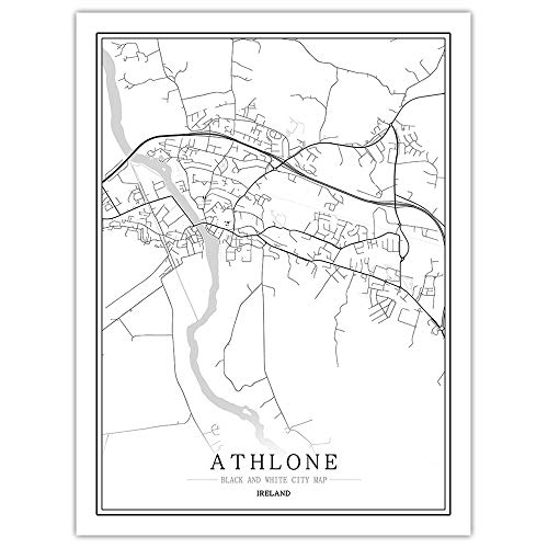 peng Prints Canvas, Ireland Athlone City Map Black White Simple Minimalist Art Mural Poster Frame less Picture,Modern Vertical Painting Cafe Office Home Decor,50 * 70cm
