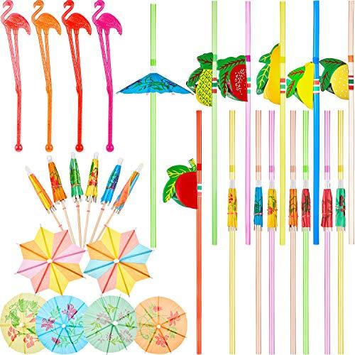204 Piezas Decoraciones de Cóctel, Pajita de Paraguas, Pajitas de Frutas 3D, Agitadores de Flamencos, Palillos de Paraguas Octogonal Redondo para Fiesta Tropical Hawaiana, Color Mezclado