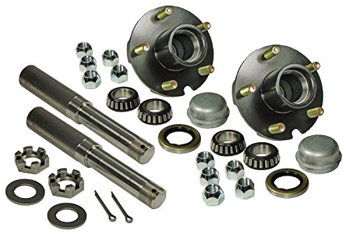 Rigid Hitch Pair of 5-Bolt On 4-1/2 Inch Hub Assembly (AKRD-2200545) Includes (2) 1-1/16 Inch Straight Spindles & Bearings