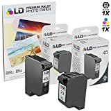 LD Remanufactured Ink Cartridge Replacements for HP 45 & HP 23 (1 Black, 1 Tri-Color, 2-Pack)