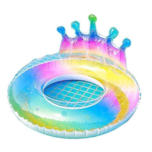 Anillo de NatacióN Corona y Sirena Flotador Swimming Ring para Adultos Inflatable PVC Gradiente Transparente,B